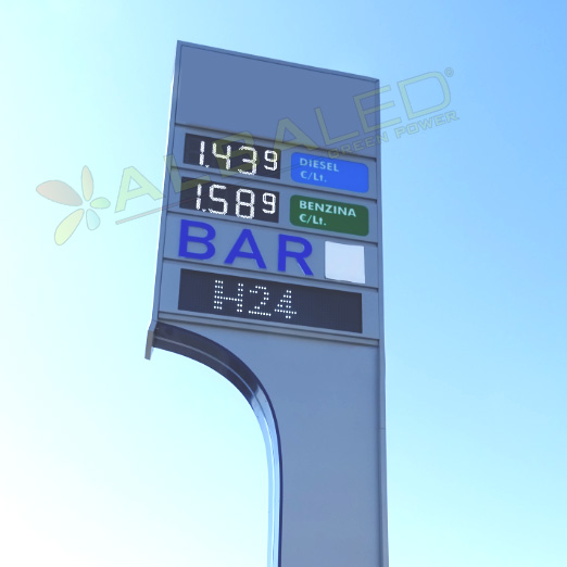 display luminosi a led per prezziari per distributori carburanti