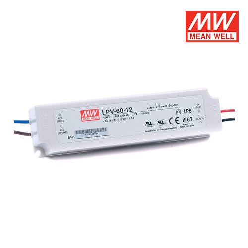 trasformatori per led per esterni meanwell ip67 60w 12v